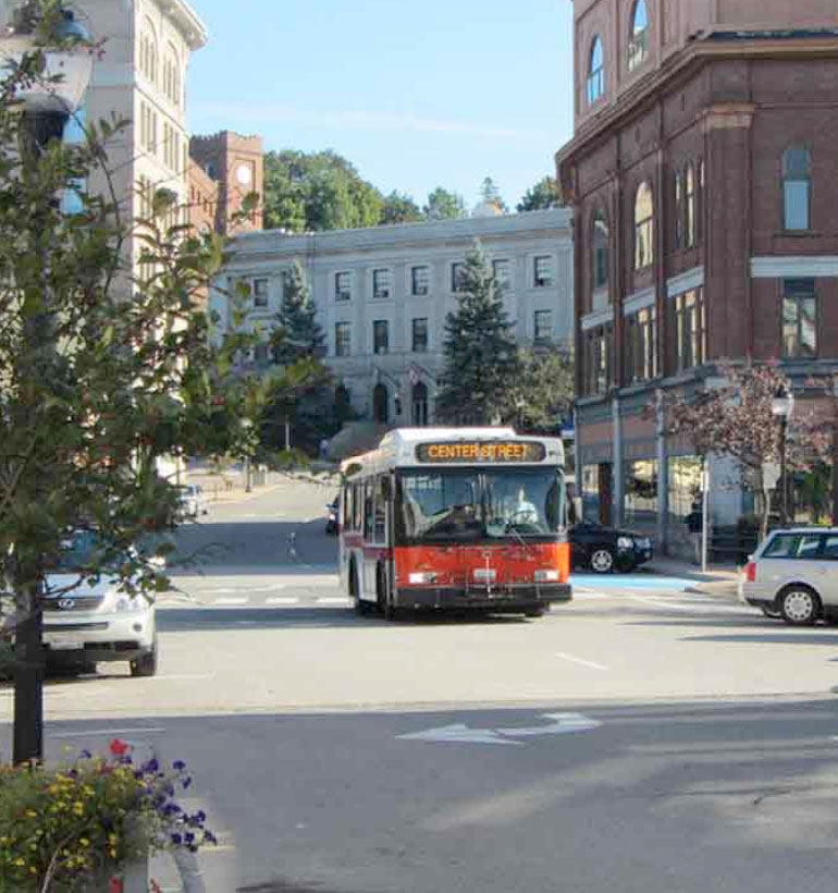 Bus on Center Street route